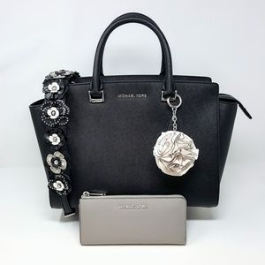 NWT Michael Kors Satchel, Wallet & Rose Clip